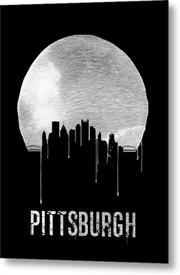 Pittsburgh Skyline Black Metal Print by Naxart Studio
