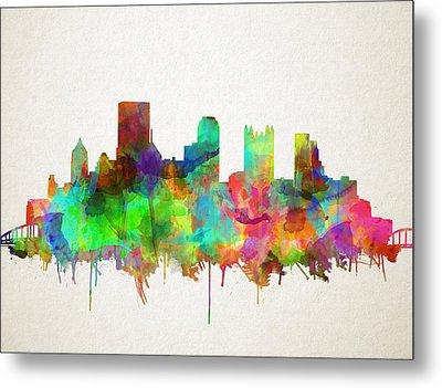 Pittsburgh Skyline Watercolor 5 Metal Print