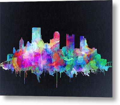Pittsburgh Skyline Watercolor 6 Metal Print
