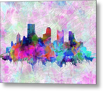 Pittsburgh Skyline Watercolor Metal Print