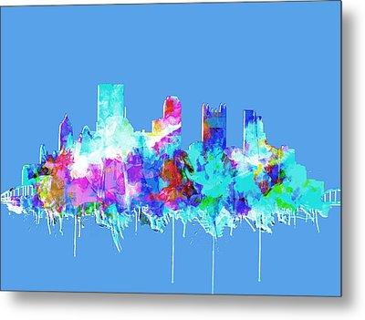 Pittsburgh Skyline Waterolor 2 Metal Print