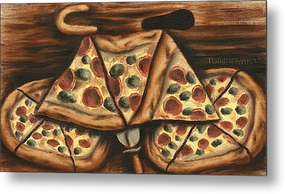 Tommervik Pizza Bicycle Art Print Metal Print by Tommervik