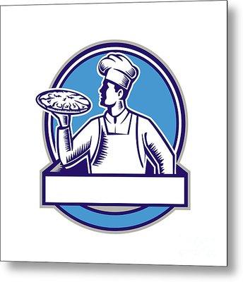 Pizza Chef Serving Pizza Circle Woodcut Metal Print by Aloysius Patrimonio