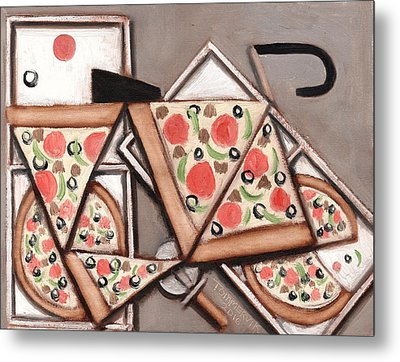 Metal Print featuring the painting Tommervik Pizza Delivery Bicycle Art Print by Tommervik
