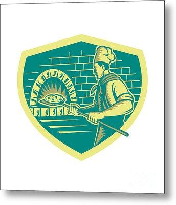Pizza Maker Holding Peel Crest Woodcut Metal Print
