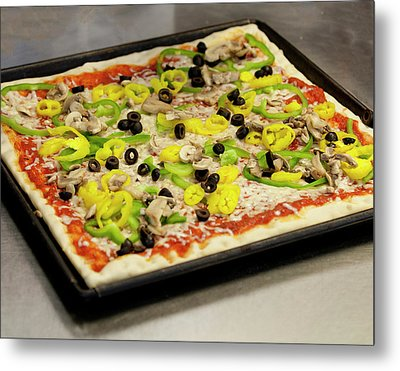 Pizza With Peppers Metal Print
