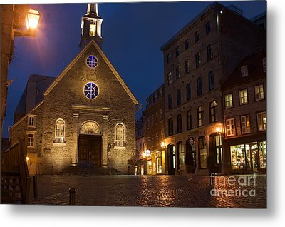 Place Royale And Notre-dame-des-victoires Church At A Rainy Evening Metal Print by Hideaki Sakurai