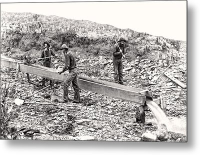 Placer Gold Mining C. 1889 Metal Print by Daniel Hagerman