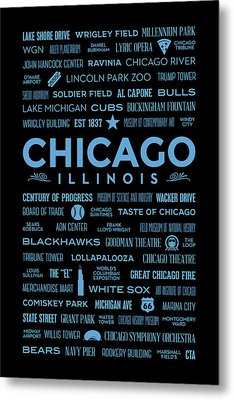 Places Of Chicago Blue On Black Metal Print by Christopher Arndt