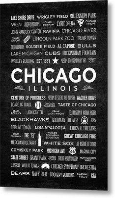 Places Of Chicago On Black Chalkboard Metal Print by Christopher Arndt