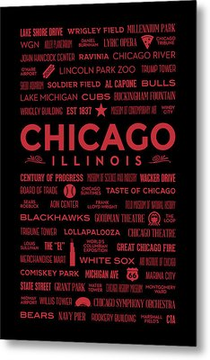 Places Of Chicago On Red On Black Metal Print by Christopher Arndt