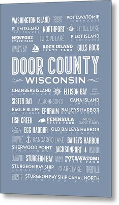 Places Of Door County On Light Blue Metal Print