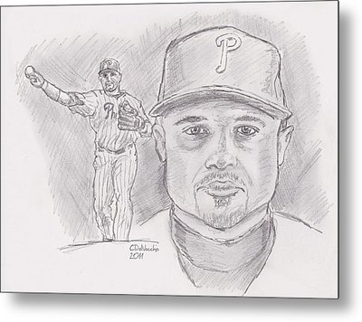 Metal Print featuring the drawing Placido Polanco Polly by Chris  DelVecchio