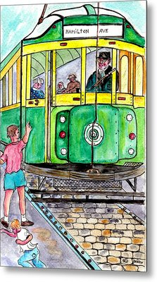 Placing Bottle Caps On The Trolley Tracks Metal Print