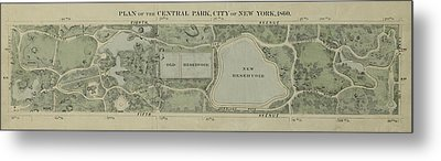 Metal Print featuring the photograph Plan Of Central Park City Of New York 1860 by Duncan Pearson