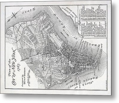Plan Of The City Of New York Metal Print by American School