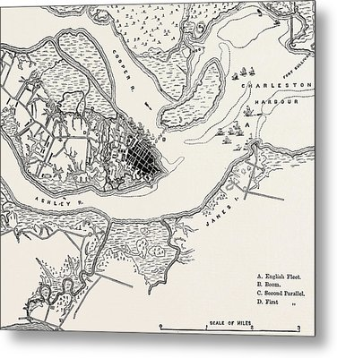 Plan Of The Siege Of Charleston Metal Print
