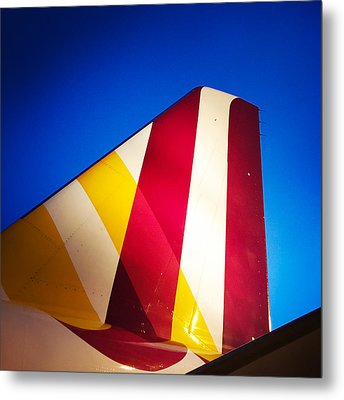 Plane Abstract Red Yellow Blue Metal Print
