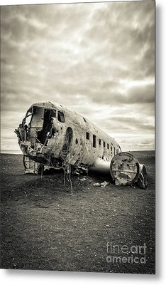 Plane Crash Iceland Metal Print