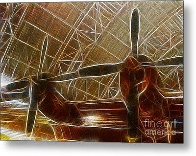 Plane In The Hanger Metal Print