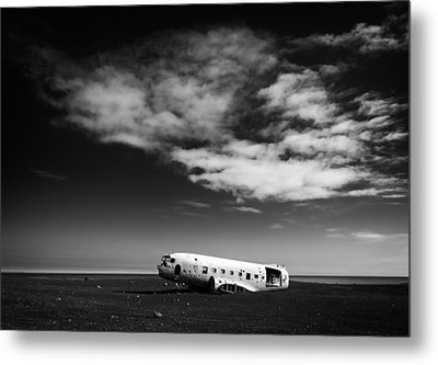 Metal Print featuring the photograph Plane Wreck Black And White Iceland by Matthias Hauser