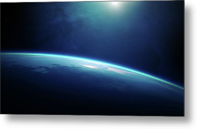 Planet Earth Sunrise From Space Metal Print
