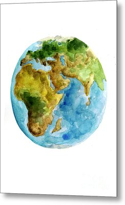 Planet Earth Watercolor Poster Metal Print by Joanna Szmerdt