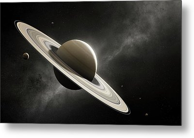 Planet Saturn With Major Moons Metal Print by Johan Swanepoel