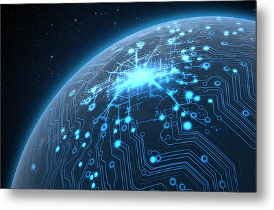 Planet With Illuminated Network Metal Print by Allan Swart
