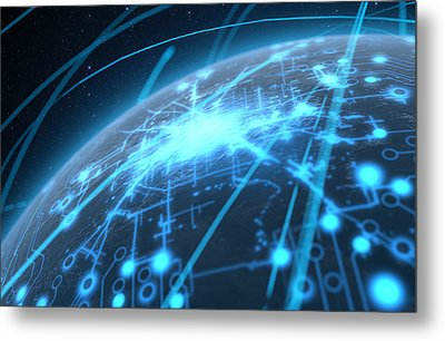 Planet With Illuminated Network And Light Trails Metal Print