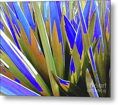 Metal Print featuring the photograph Plant Burst - Blue by Rebecca Harman
