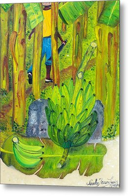 Metal Print featuring the painting Plantain Farmer's Pride by Nicole Jean-louis