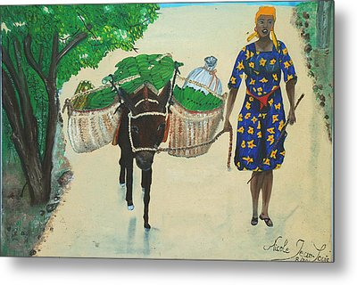 Metal Print featuring the painting Plantain Merchant Woman by Nicole Jean-Louis