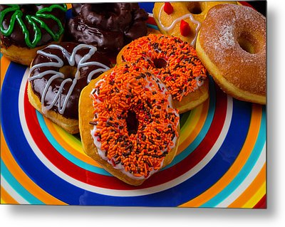 Plate Of Donuts Metal Print by Garry Gay