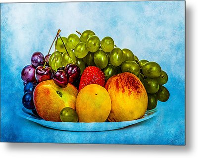 Metal Print featuring the photograph Plate Of Fresh Fruits by Alexander Senin