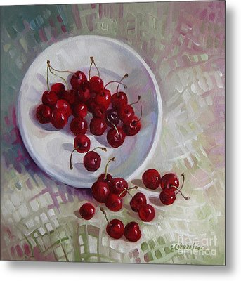Plate With Cherries Metal Print