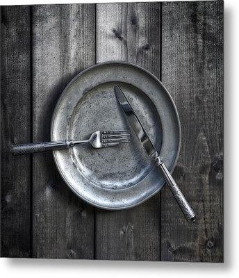 Plate With Silverware Metal Print