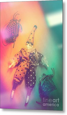 Play Act Of A Puppet Clown Performing A Sad Mime Metal Print