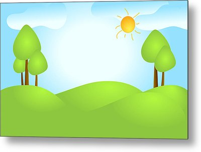 Playful Kid's Spring Backdrop Metal Print by Serena King