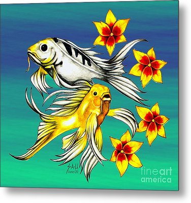 Playful Koi Metal Print