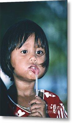 Playful Little Girl In Thailand Metal Print by Heiko Koehrer-Wagner