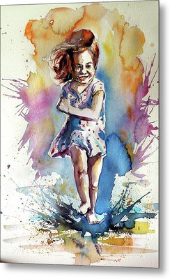 Metal Print featuring the painting Playing Girl by Kovacs Anna Brigitta
