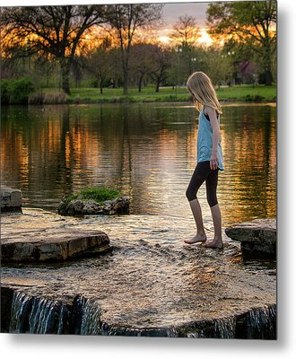 Playing In A Riffle At Forest Park Metal Print by Garry McMichael
