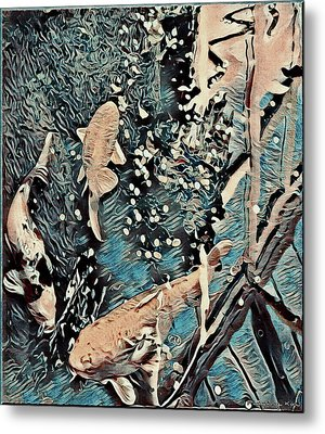 Metal Print featuring the digital art Playing It Koi by Mindy Newman