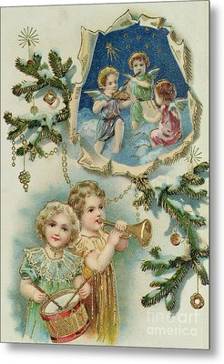 Playing Musical Instruments, Victorian Christmas Card Metal Print by English School
