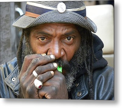Playing The Harmonica II Metal Print by Fanny Diaz