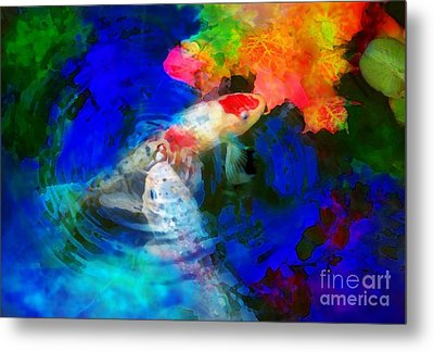 Playing  With Autumn Metal Print by Gina Signore