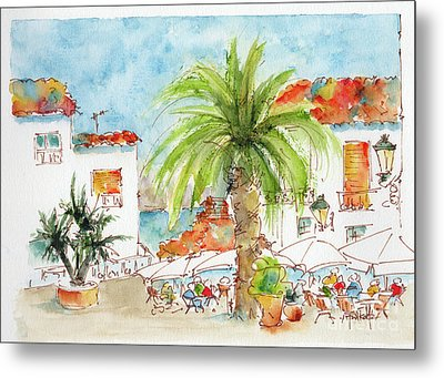 Metal Print featuring the painting Plaza Altea Alicante Spain by Pat Katz