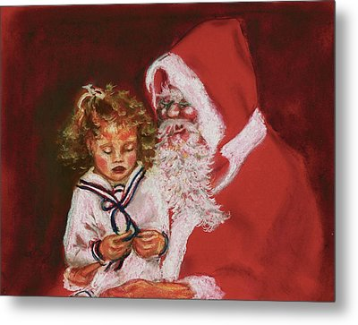 Please Mr Santa Metal Print by Yvonne Ayoub