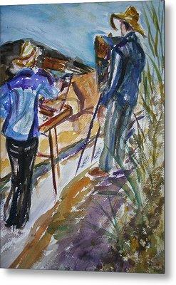 Plein Air Painters - Original Watercolor Metal Print by Quin Sweetman